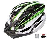 D'Kotte スタイリッシュ 軽量 自転車用 サイクリング ヘルメット 色選択できます。 LEDテールライトセット (ホワイト/グリーン)
