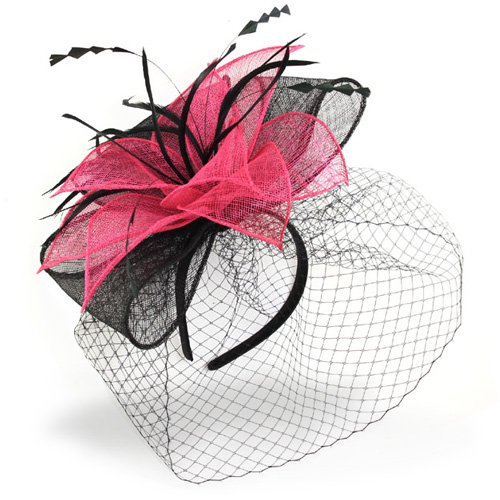 [Buckingham' Black & Pink Hat Fascinator with Net Mesh Veil, Stunning Fuchsia & Black Hat Combo in this Headwear, Avaliable in 2 Colours.Great] (Czech Polka Costumes)