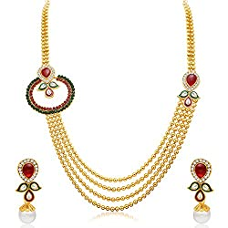 Sukkhi Enchanting Four Strings Gold Plated Necklace Set for Women