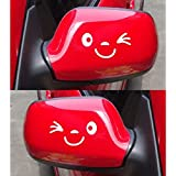 Happy Bargains Ltd SMILE FACE WHITE Car Wing Door Mirror Funny Stickers Decal White