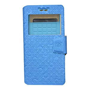 Jo Jo Cover Astro Series Leather Pouch Flip Case With Silicon Holder For  Lava 3G 402 Plus Exotic Blue