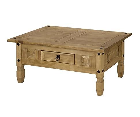 New Corona Tavolino da caffè o da angolo, in legno di pino, con 1 cassetto, per soggiorno