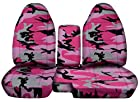 1998 to 2003 Ford Ranger 60/40 Truck Seat Covers Pink Army Camouflage. Console Cover with Cupholder Opening Included