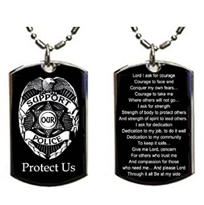 Police Policeman Prayer Your Protection Double Sided Logo - Military Dog Tag, Luggage Tag Metal Chain Necklace