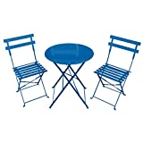 3 PIECE METAL GARDEN BISTRO SET ROUND TABLE & 2 CHAIRS - COBALT...