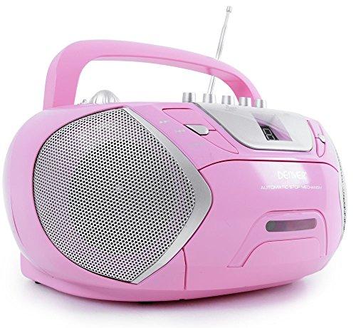 Kinder Mädchen Stereoanlage CD-Player Radio Kassettendeck Boombox DENVER TCP-38 MK2 Pink