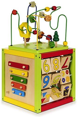 Aktiv Motorikwürfel Spielcenter Cube mit Motorikschleifen / Tier- & Zahlenpuzzle / Labyrinth / Zahlen aus Holz groß & bunt