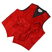 Red Patterned Wedding Vest for Men plaid for Mens Gift Idea with Tuxedo Vests ,cufflinks, hanky and Ascot Tie for Suit Y&G VS2029-M Medium Red