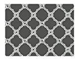 York Wallcoverings AP7490 Silhouettes Fretwork Trellis Wallpaper, Charcoal Gray/White