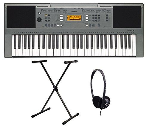 Yamaha PSR E353 Keyboard SET inkl. Keyboardständer und Kopfhörer (61 Tasten mit Anschlagdynamik, AWM Stereo Sampling Tonerzeugung, 32-stimmige Polyphonie, 555 Sounds + 18 Drum Kits, inkl. Netzadapter und Notenablage)