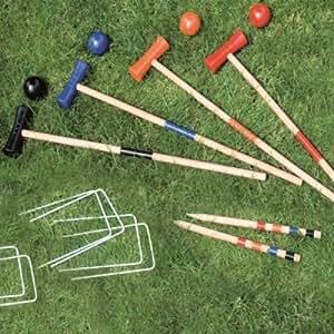 Wooden Croquet Set Outdoor Traditional Garden Game