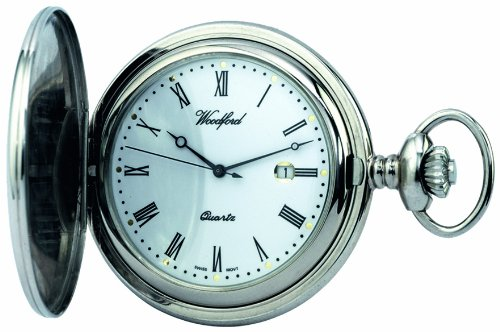 Woodford Quartz Full-Hunter Pocket Watch, 1206, Men's Chrome-Finished  with Chain (Suitable for Engraving)