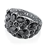 Bead Hinged Fashion Bangle Hematite & Jet Black