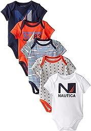 Nautica Baby-Boys Newborn 5 Pack Americana Style Bodysuit, Assorted, 0-3 Months