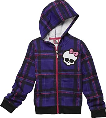 Monster High Girl's Graphic Hoodie Jacket - Plaid (6/6X, Purple)