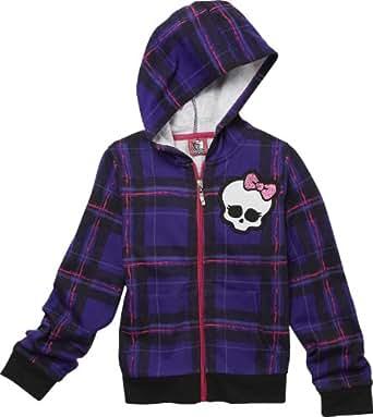 Monster High Girl's Graphic Hoodie Jacket - Plaid (6/6X, Purple)