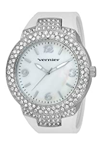 Vernier Women's VNR11073SSW Mother-Of-Pearl Dial Rubber Strap Quartz Watch