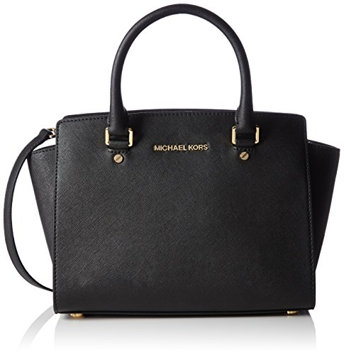 Michael KorsSelma Saffiano Leather Medium Satchel - Borsa con Maniglia Donna , Nero (Nero (Black 001)), 33x20x10 cm (B x H x T)