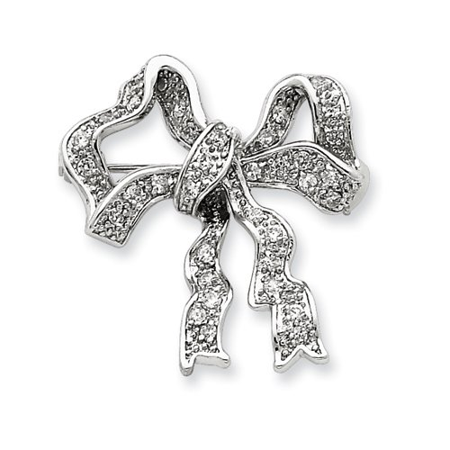 Sterling Silver Cz Bow Pin