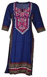 Tarang Mart Women's Viscose Straight Kurta (TM-K103, Blue, M)