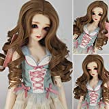 1/3 BJD SD Doll Wig with 9-10 Inch High Temperature Synthetic Fiber Dark Brown Long Kinky Wavy Hair with Middle Parting Wig BJD Doll Wigs for 1/3 BJD SD Doll(22#) (Color: 22#)