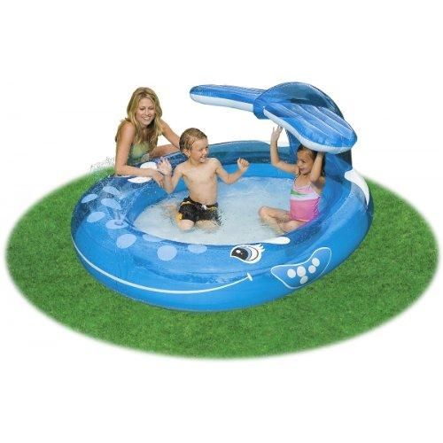 """Intex Inflatable Whale Spray Kiddie Pool - Holds Up To 91 Gallons (82""""X62""""X39"""") front-968345"""