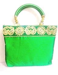 Gliteri Ethnic HandBag Ladies Purse Silk Embroidry Clutch For Women