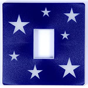 Blue Glow in the Dark Stars Light Switch Cover