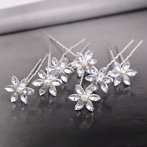 Yantu Womens Flower Bridal Wedding Hair Pin with Crystal (Pack of 20) (six crystal)