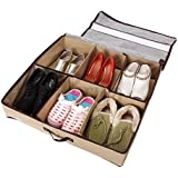 Periea - Sturdy Shoe Storage Box With Hard Base and Sides (Holds 3-12 Pairs) Beige