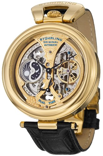 Stuhrling Original Men's 127A.333531 Special Reserve Emperor's Grandeur Automatic Skeleton Dual Time Gold Tone Dial Watch