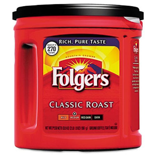 Scs Folgers - Classic Roast Ground Coffee, 33.9 Oz