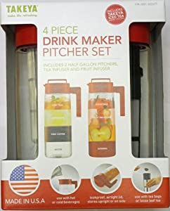 Takeya 4 Piece Drink Maker Pitcher Set (Red)