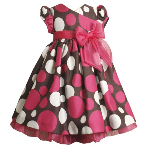 Size-4T BNJ-9775X 2-Piece BROWN IVORY PINK CROSSOVER SHANTUNG DOT PRINT Special Occasion Flower Girl Holiday Party Dress,X29775 Bonnie Jean TODDLERS