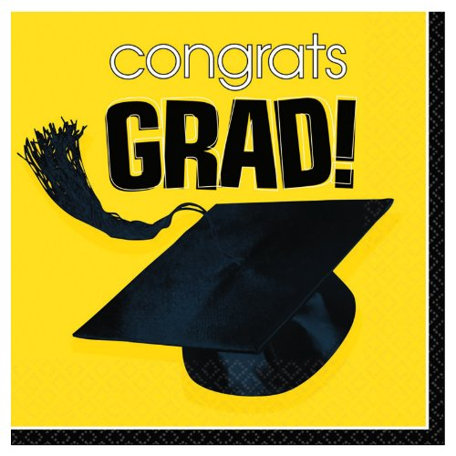 Costumes 202627 Congrats Grad Yellow Graduation Lunch Napkins