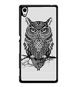 Fuson Premium Grey Owl Metal Printed with Hard Plastic Back Case Cover for Sony Xperia Z4