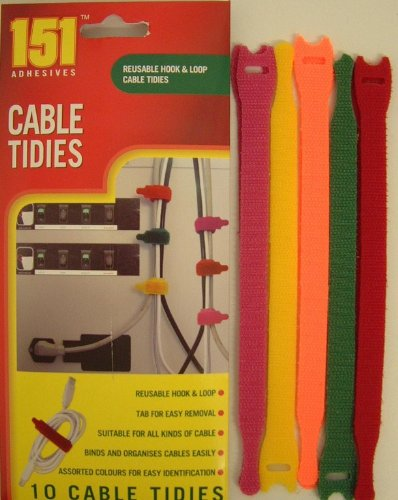 151 10 Pc Piece Multi Coloured Hook And Loop Cable Tidies