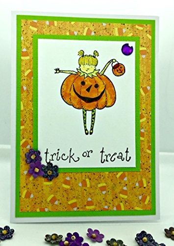 [Trick or Treat Girl in Jack O' Lantern Costume Hand Stamped Greeting Card with Envelope] (Barista Halloween Costume)