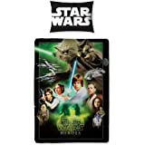 Childrens/Kids Star Wars Saga Heroes Reversible Quilt/Duvet Cover Bedding Set (Single Bed) (Green/Black)