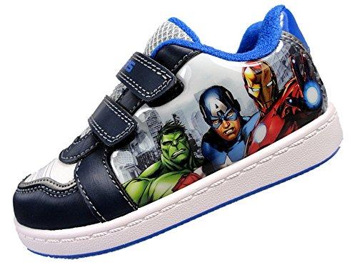 ragazzi-nuovo-avenger-velcro-skate-trainer-navy-marvel-superhero-scarpe-blu-navy-white-24-eu-giovent