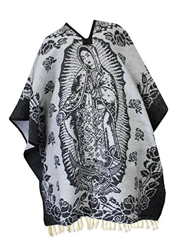 del-mex-authentic-mexican-poncho-cobija-blanket-virgen-guadalupe-virgin-mary-black-white