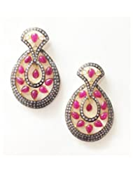 E-designs Rhodium / Gold Plated Earring With CZ Stone Alongwith Colour Stones Studded For Women - B00HSI92Q0