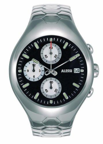 Alessi - AL 11011 - Montre Homme - Quartz - Analogique - Chronographe - Bracelet Acier Inoxydable Argent