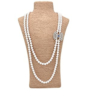 ART KIM Exotic Grace Gemstone Crystal Pearl Strands Necklaces (Blue)