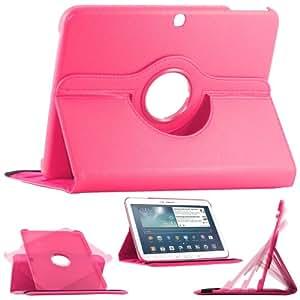 """ebestStar - Pour Tablette Samsung Galaxy TAB 3 10.1 10"""" P5200 / P5210 / P5220 / GT-P5210ZWAXEF - Housse Coque Etui en PU cuir rotatif ROTATION 360° (horizontal ou vertical) + 1 film de protection d'écran, couleur ROSE"""