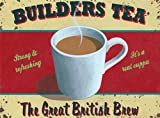 Retro Tin Sign BUILDERS TEA Cafe Kitchen House Gift Vintage Tin Metal Sign