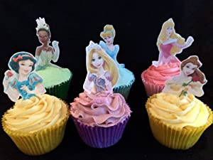 Disney Cake Decorations Uk : 12 Stand Up Premium Edible Wafer Paper Disney Princess Top ...