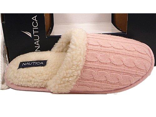 Cheap Nautica Womens Slippers Slip On Scuffs Memory Foam Sherpa Lined Rubber Sole Pink Knit Medium (B002MYHOTM)