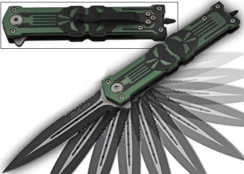 Punisher Glass Breaker Spring Assisted Knife OD Green