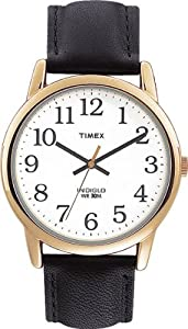 Timex Mens Watch with White Dial and Black Leather Strap - T20491PF
